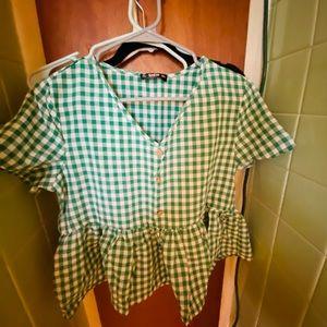 Cute green peplum shirt!!